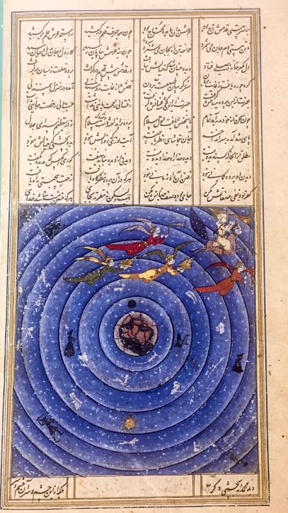Miraç sahnesi, burç, zodyak ve yedi gök. Hamse-i Nizami, İran, 1665-1666, British Library